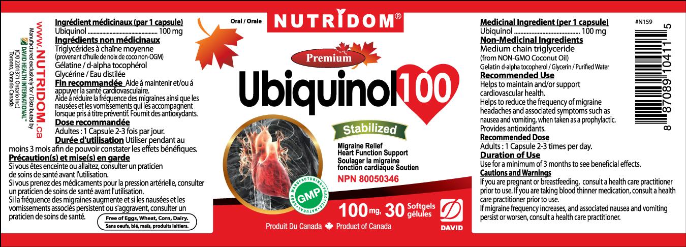 Nutridom Ubiquinol 100  100mg 30 Softgels