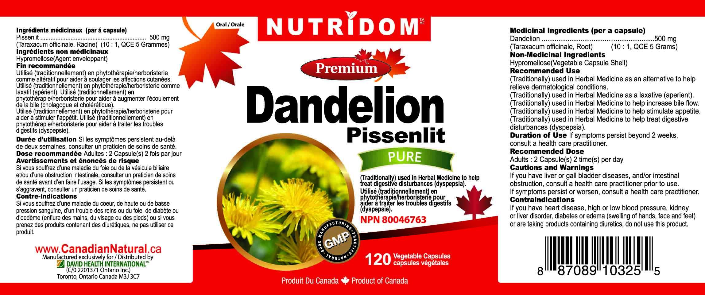 Nutridom Dandelion 500 mg 120 Vcaps
