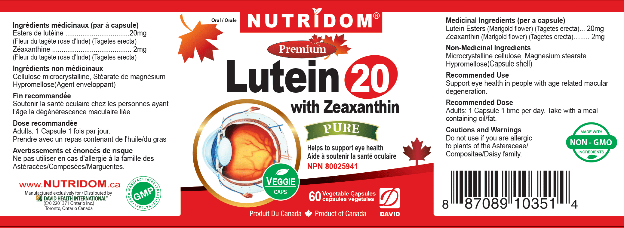 Nutridom Lutein 20 with Zeaxanthin 22 mg 60 Vcaps