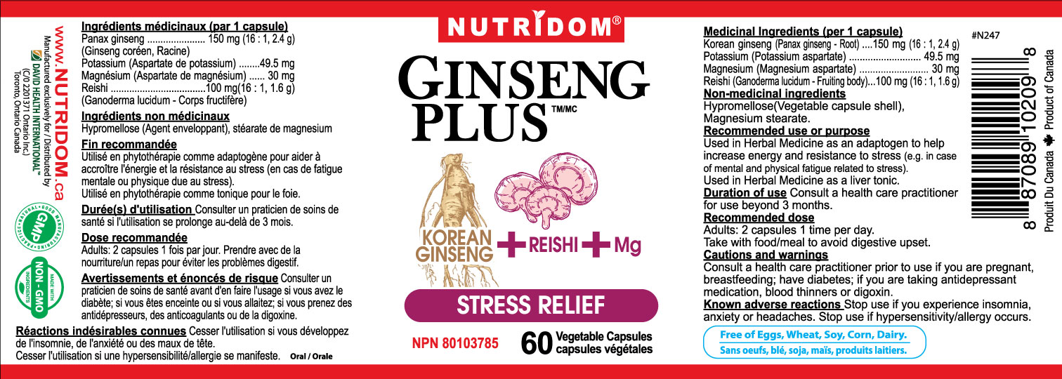 Nutridom Ginseng Plus Stress Relief 60 Vcaps