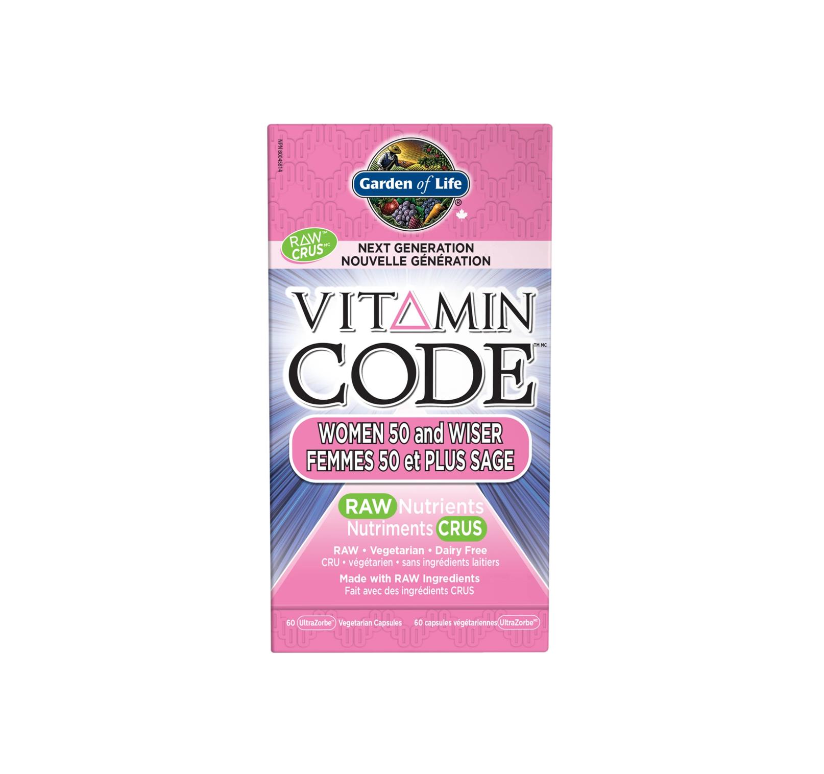 Garden of Life Vitamin Code Women 50 and Wiser 60 Ultrazorbe vegi caps