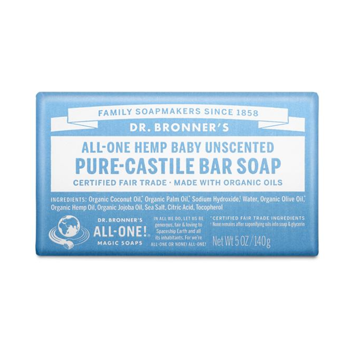 Dr. Bronner's Pure Castile Bar Soap Baby unscented
